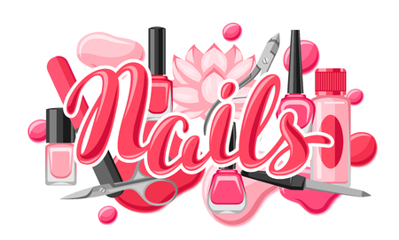 Banner with manicure tools. Nail polishes and professional equipment for manicure salons.