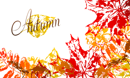 Background with printed leaves. Art illustration of autumn foliage.