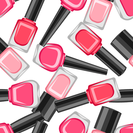 Seamless pattern with nail polishes. Fashionable illustration for manicure salons. Illustration