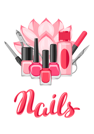 Background with manicure tools. Nail polishes and professional equipment for manicure salons. Vettoriali