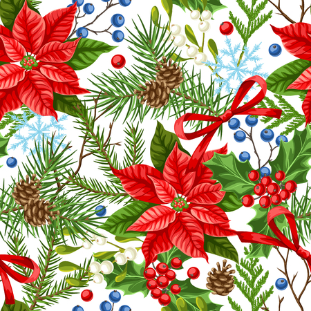 Seamless pattern with winter plants. Merry Christmas holiday decoration. Forest branches background in vintage style.