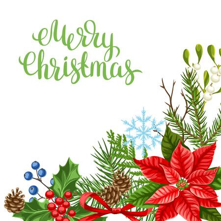 Grußkarte mit Winterpflanzen. Frohe Weihnachten Weihnachtsdekoration. Waldzweighintergrund im Weinlesestil.