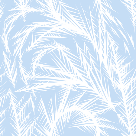 Winter frozen window seamless pattern. Ornament of ice crystals on the glass. Illustration
