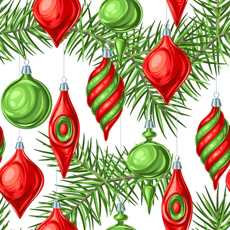 Christmas seamless pattern with balls. Holiday vintage decorations for tree. Greeting celebration background. Stock Illustratie