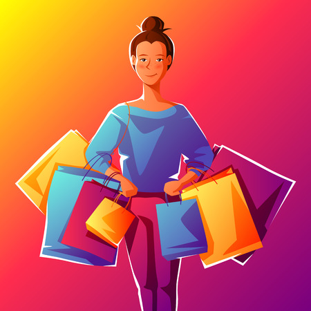 Cute girl with packages. Shopping illustration of young woman character.