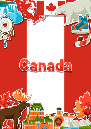 Canada sticker background design. Canadian traditional symbols and attractions. Illustration
