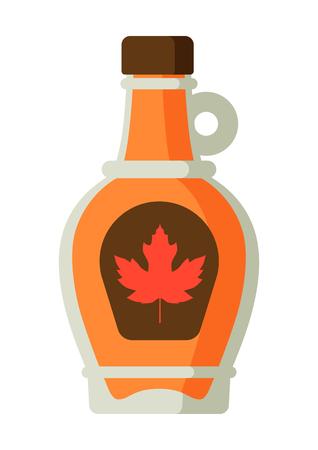 Sirope de arce en botella. Comida tradicional canadiense. Ilustración de vector