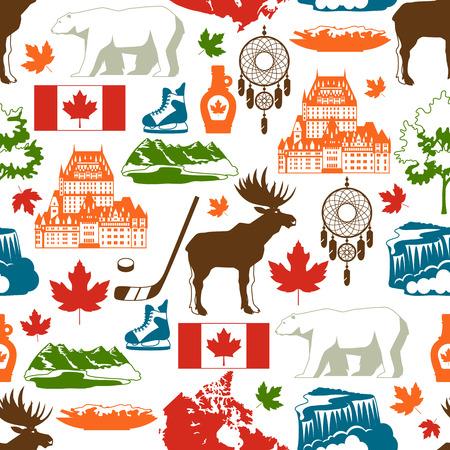 Kanada nahtloses Muster. Traditionelle kanadische Symbole und Attraktionen.
