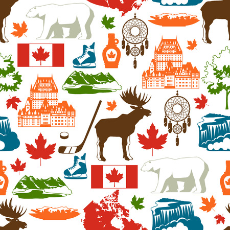 Canada seamless pattern. Canadian traditional symbols and attractions. Illustration