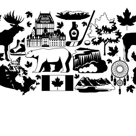 Canada seamless pattern. Canadian traditional symbols and attractions.  イラスト・ベクター素材