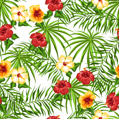 Tropical seamless pattern. Palm leaves and hibiscus flowers.