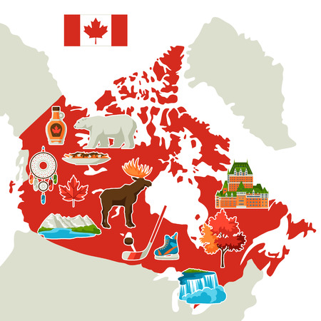 Illustration of Canada map. Canadian traditional symbols and attractions.