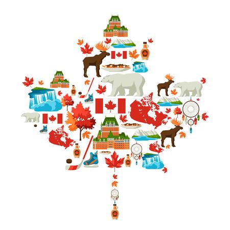 Disegno di sfondo del Canada. Simboli e attrazioni tradizionali canadesi. Vettoriali