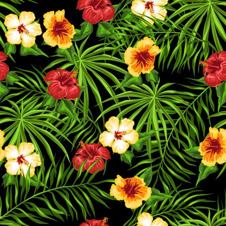 Modèle sans couture tropical. Feuilles de palmier et fleurs d'hibiscus. Vecteurs