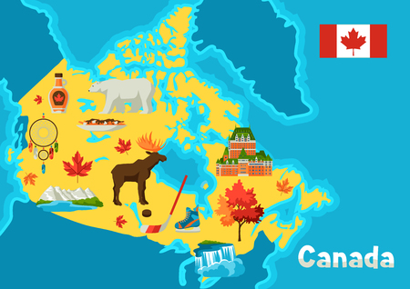 Illustration de la carte du Canada. Symboles et attractions traditionnels canadiens.