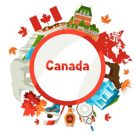 Kanada Hintergrunddesign. Traditionelle kanadische Symbole und Attraktionen.