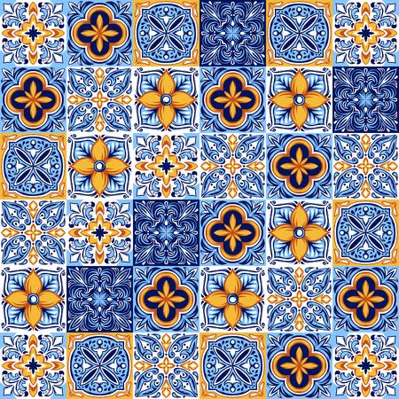 Italienisches Keramikfliesenmuster. Ethnische Volksverzierung. Mexikanische Talavera, portugiesische Azulejo oder spanische Majolika.