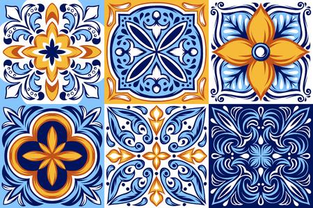 Patrón de baldosas de cerámica italiana. Adorno folclórico étnico. Talavera mexicana, azulejo portugués o mayólica española. Ilustración de vector