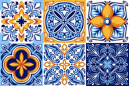 Włoski wzór płytek ceramicznych. Etniczny ornament ludowy. Meksykańska talavera, portugalska azulejo lub hiszpańska majolika. Ilustracje wektorowe