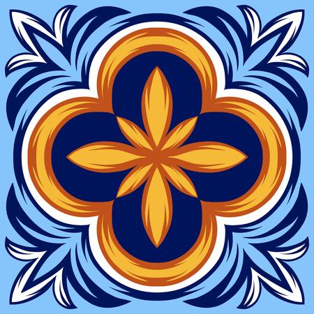 Modello di piastrelle di ceramica italiana. Ornamento popolare etnico. Talavera messicana, azulejo portoghese o maiolica spagnola.