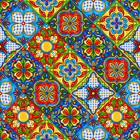 Mexican talavera ceramic tile pattern. Ethnic folk ornament. Italian pottery, portuguese azulejo or spanish majolica. Иллюстрация
