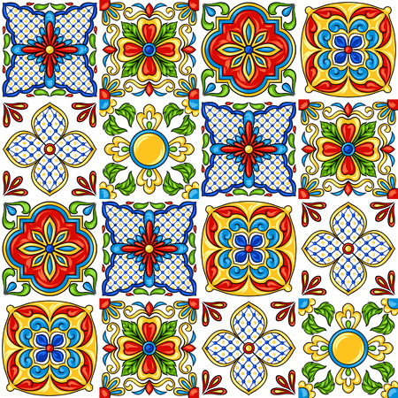 Mexican talavera ceramic tile pattern. Ethnic folk ornament. Italian pottery, portuguese azulejo or spanish majolica. 矢量图像