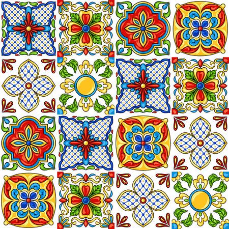 Wzór płytki ceramicznej meksykańskiej talavera. Etniczny ornament ludowy. Ceramika włoska, portugalska azulejo lub hiszpańska majolika.