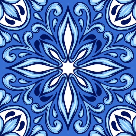 Portuguese azulejo ceramic tile. Ethnic folk ornament. Mediterranean traditional ornament. Italian pottery, mexican talavera or spanish majolica.