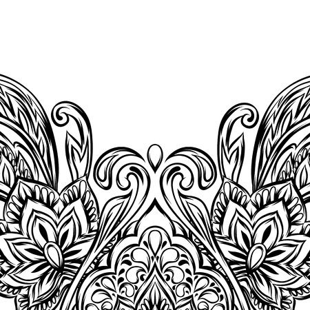 Indian ethnic background pattern. Ethnic folk ornament. Hand drawn lotus flower and paisley. Illustration