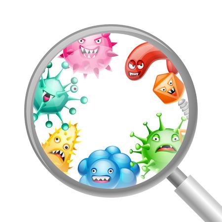 Achtergrond met kleine boze virussen, microben en monsters.