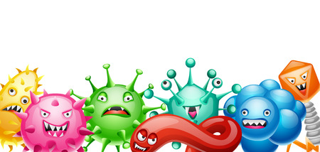 Background with little angry viruses, microbes and monsters.