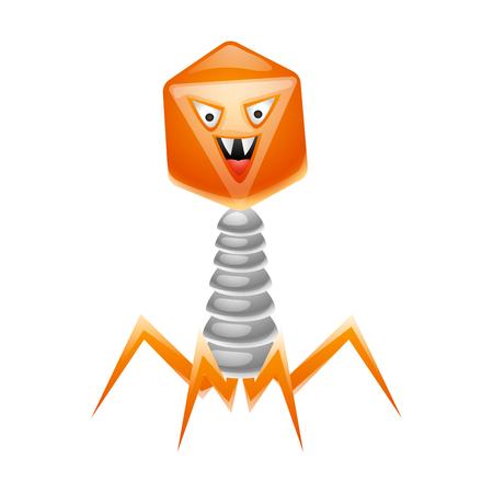 Bacteriophage virus illustration. Little angry microbe or monster.