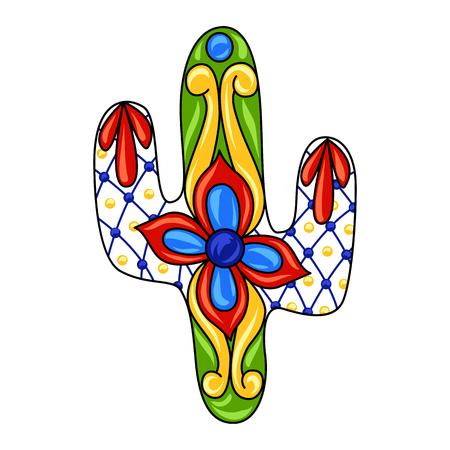 Mexican ornamental cactus. Traditional decorative object. Talavera ceramic pattern. Ethnic folk ornament.