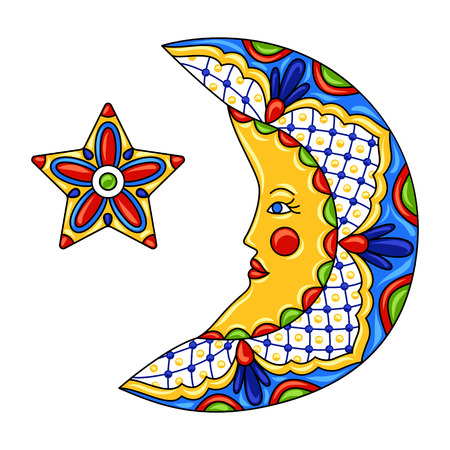 Mexican ornamental moon and star. Traditional decorative object. Talavera ceramic pattern. Ethnic folk ornament.