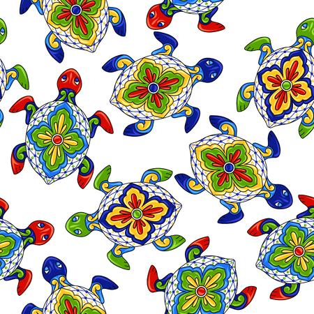 Reticolo senza giunte messicano con le tartarughe. Oggetti decorativi tradizionali. Ceramica ornamentale Talavera. Ornamento popolare etnico.