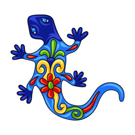 Mexican ornamental lizard. Traditional decorative object. Talavera ceramic pattern. Ethnic folk ornament. Çizim