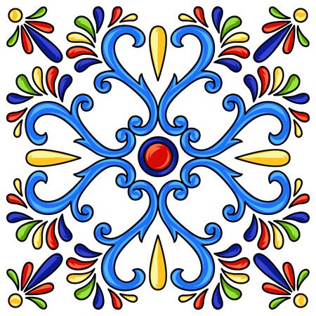 Mexican talavera ceramic tile pattern. Ethnic folk ornament. Italian pottery, portuguese azulejo or spanish majolica. Vettoriali