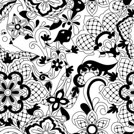 Mexican lace seamless pattern. Traditional decorative objects. Talavera ornamental ceramic. Ethnic folk ornament.