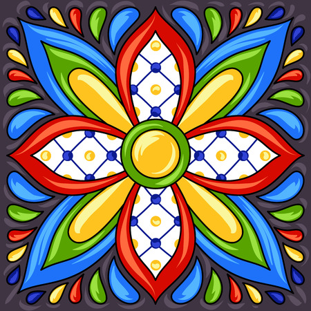 Mexican talavera ceramic tile pattern. Ethnic folk ornament. Italian pottery, portuguese azulejo or spanish majolica.  イラスト・ベクター素材