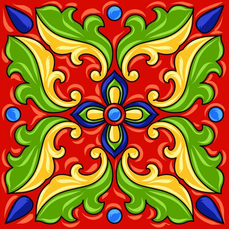 Mexican talavera ceramic tile pattern. Ethnic folk ornament. Italian pottery, portuguese azulejo or spanish majolica. Ilustrace