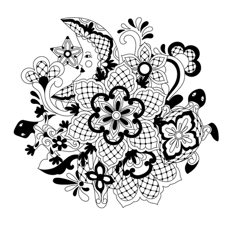 Mexican lace background design. Traditional decorative objects. Talavera ornamental ceramic. Ethnic folk ornament.