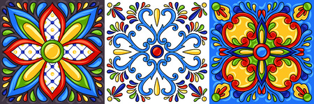 Mexican talavera ceramic tile pattern. Ethnic folk ornament. Italian pottery, portuguese azulejo or spanish majolica. Çizim