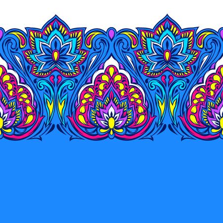 Indyjski etniczne bezszwowe wzór. Etniczny ornament ludowy. Ręcznie rysowane kwiat lotosu i paisley.