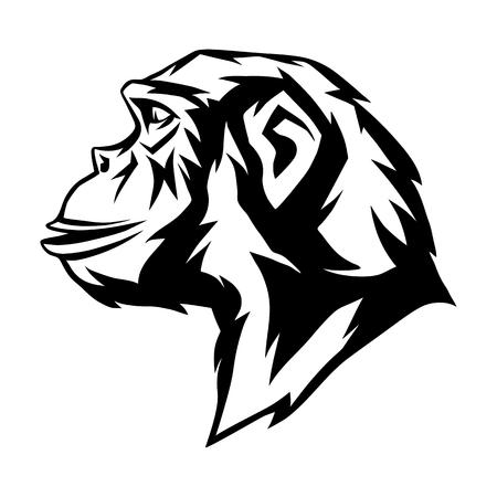 Tête de singe sauvage. Conception d'affiche ou d'emblème d'animaux. Vecteurs