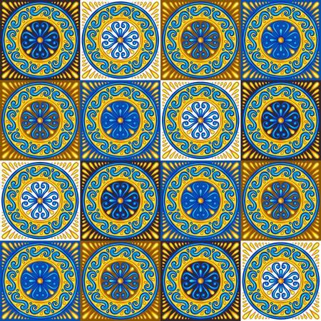 Wzór marokański płytek ceramicznych. Etniczne motywy kwiatowe. Śródziemnomorski tradycyjny ludowy ornament. Portugalskie azulejo, meksykańska talavera czy hiszpańska majolika.
