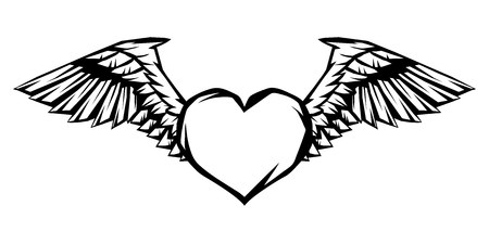 Heart with wings for tattoo design or emblem. Stylized black and white illustration. Иллюстрация