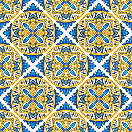 Moroccan ceramic tile seamless pattern. Ethnic floral motifs. Mediterranean traditional folk ornament. Portuguese azulejo, mexican talavera or spanish majolica. Vettoriali