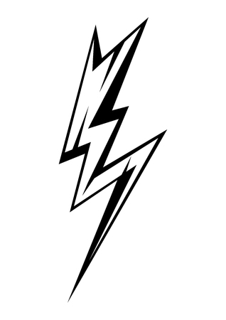 Black emblem of lightning. Icon or illustration on white Ilustração
