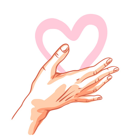 One hand hold heart. Illustration of helping each other, care and protection.