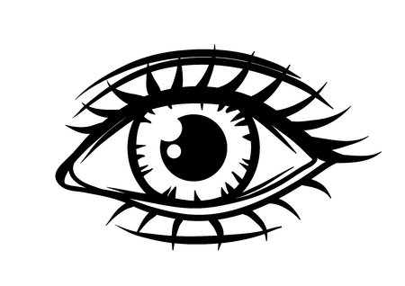 Hand-drawn beautiful female eye. All seeing eye symbol.